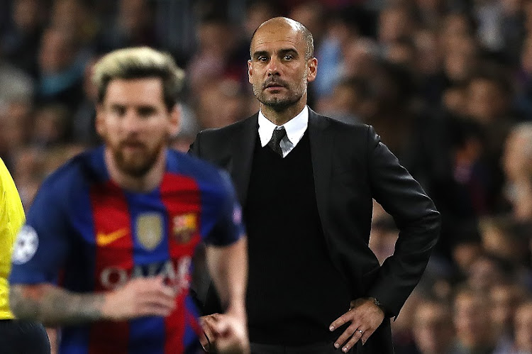 Manager Pep Guardiola looks on during the UEFA Champions League match between FC Barcelona and Manchester City FC at Camp Nou on October 19, 2016 in Barcelona.