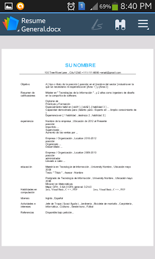 cv resume espaolspanish screenshot 4 - Resume En Espaol