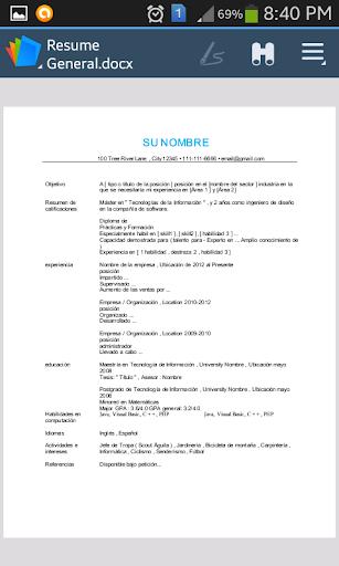 cv resume espaolspanish screenshot 4 - Resume En Espanol