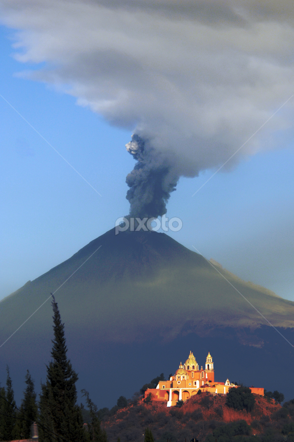 Church and Smoking Volcano by Cristobal Garciaferro Rubio - Landscapes Mountains & Hills ( cholula, volcano, mexico, puebla, popocatepetl, smoking volcano )
