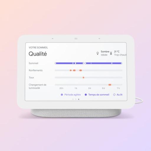 Image d'un Nest HubMax affichant l'écran de qualité du sommeil