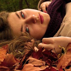 Olja                     by Milan Milosevic ヅ - People Portraits of Women ( girls, fashion, autumn, serbia, fall, leaves, women, eyes )