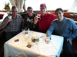 Photo: The buffet on a vessel (EEE 2007). Urs Zimmermann (left), Irmgard Hartmeyer and friends.