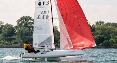 Photo: Water Rats Regatta - John and Bea sailing downwind in perfect trim