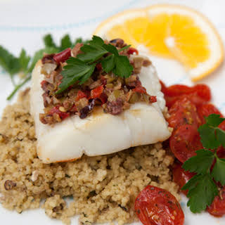 Halibut with Olive Tapenade Crust.