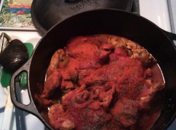 Add tomato, 1/4 cup paprika, 1 tsp salt and 1 tsp pepper.  Stir,...