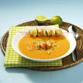 Caribbean Pumpkin Soup With Chicken Skewers.