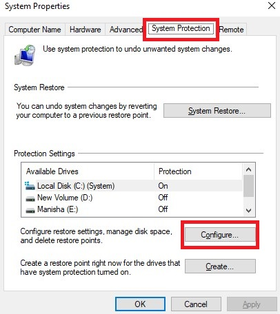 Click the Configure button on the System Protection tab.