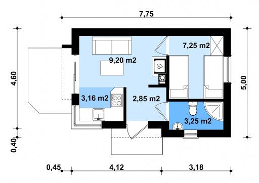 G254 - Budynek rekreacji indywidualnej - Rzut parteru