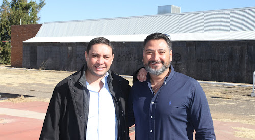 Westside Petroleum general manager Patrick Riad, left, and managing director Terry Makhlouf at the former Country Kitchen to be redeveloped as a cafe and fuel stop.