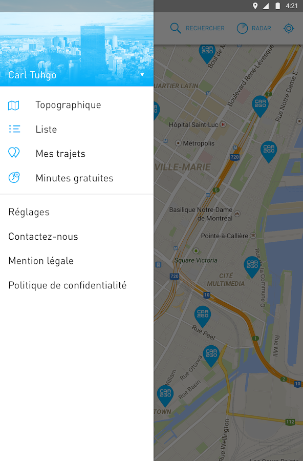 car2go – Capture d'écran