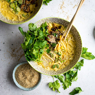Coconut Curry Ramen Noodles with Marinated Mushrooms.