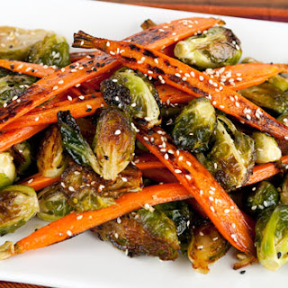 Roasted Carrots & Brussels Sprouts in Miso Honey