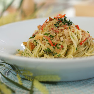 Angel Hair Pasta With Tuna Lemon And Pancetta Herb Crumb.