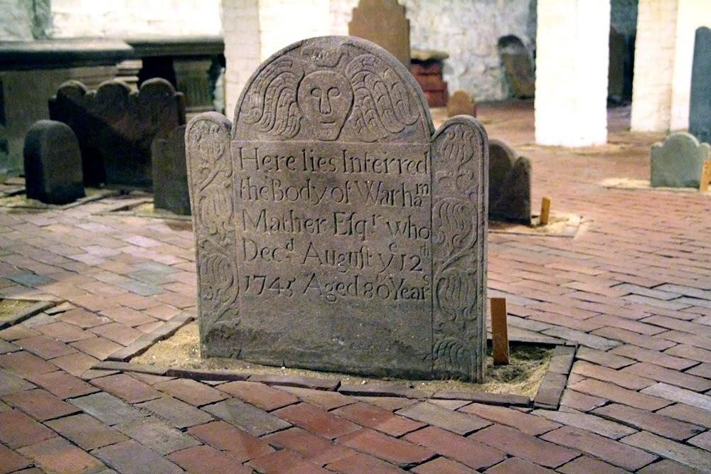 O cemitério no porão da igreja de New Haven Green