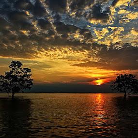S U N S E T by Fammz Fammudin - Landscapes Sunsets & Sunrises ( water, sunset, beach, landscape )
