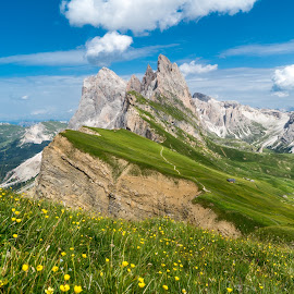 Seceda peak by Krissanapong Wongsawarng - Landscapes Mountains & Hills ( mountain, seceda, italy )
