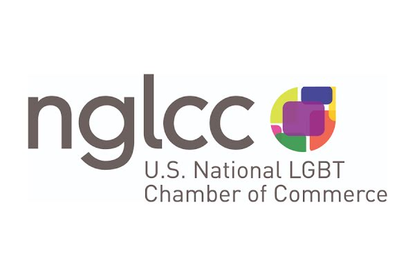 Logo for the U.S. National LGBT Chamber of Commerce in gray type with multi-colored brand mark on a white background