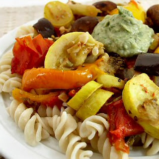 Pasta with Roasted Vegetables and White Bean Pesto