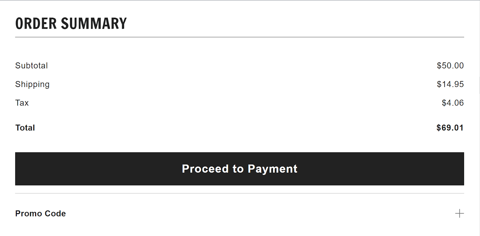 A checkout order summary, showing a subtotal of $50 that is increased by shipping and tax to be $69.01.