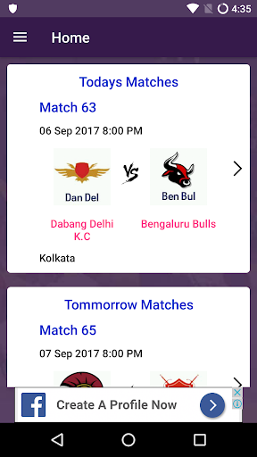 Pro Kabaddi 2017 Live Scores and Schedules App  screenshots 1