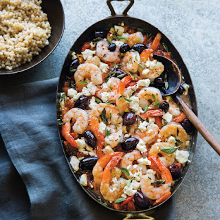 Mediterranean Shrimp with Feta, Olives and Oregano