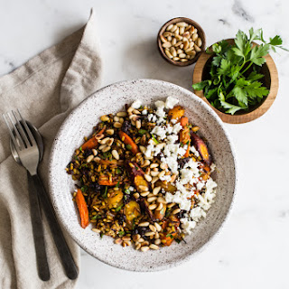 Brown Rice Salad with Spice-Roasted Carrots, Feta + Pine Nuts from My Darling Lemon Thyme