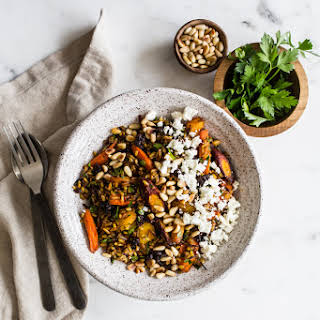 Brown Rice Salad with Spice-Roasted Carrots, Feta + Pine Nuts from My Darling Lemon Thyme.