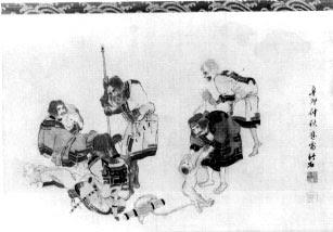 アイヌ人風俗画、木戸竹石筆 天保二年 絹本彩色 一幅
