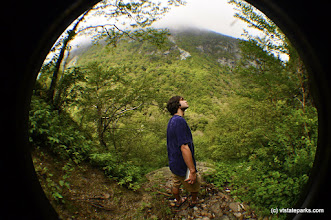 Photo: Hiker in a bubble taking in the mist at Smugglers' Notch State Park