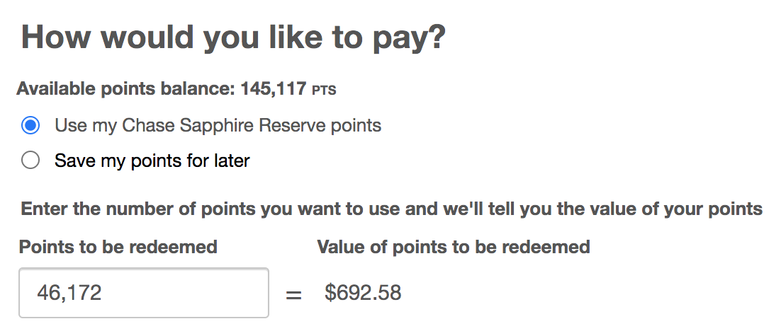 Booking the Flight using Chase Sapphire Reserve