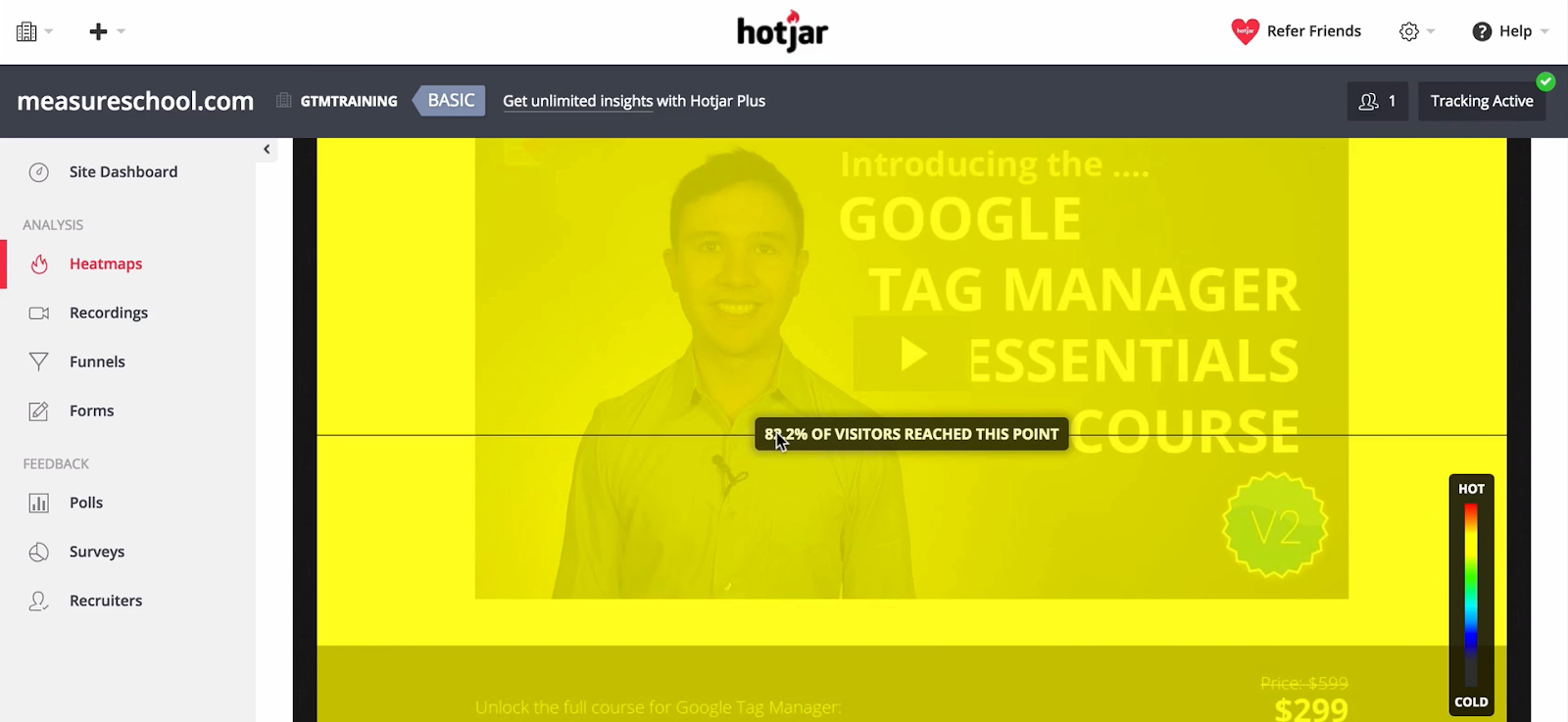 Heatmaps in Hotjar allows you to see how your visitors navigate your website.