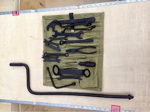 Photo: reproduction tool bag with original repainted tools
