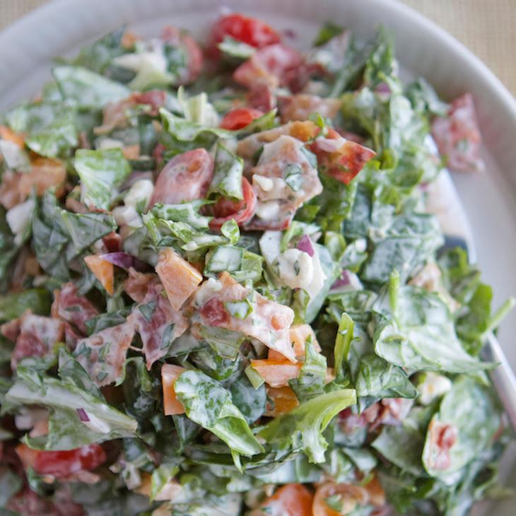 BLT Chopped Salad with Basil Green Goddess Dressing Recipe | Yummly