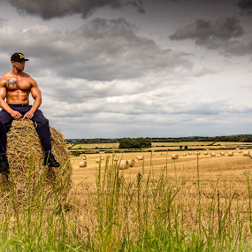 Working the land by Tony Walker - People Portraits of Men ( field, body, weight, topless, outdoors, male, muscle )