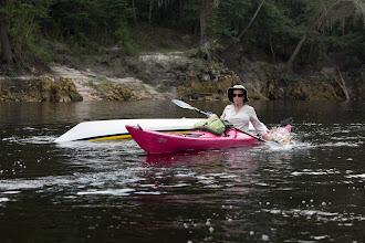 Photo: Cecilia splashes her paddle