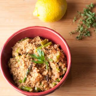 Vegan Asparagus Mushroom Quinoa Risotto.