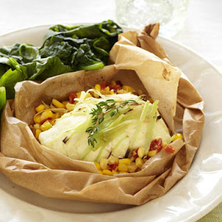 Flounder with Corn and Tomatoes