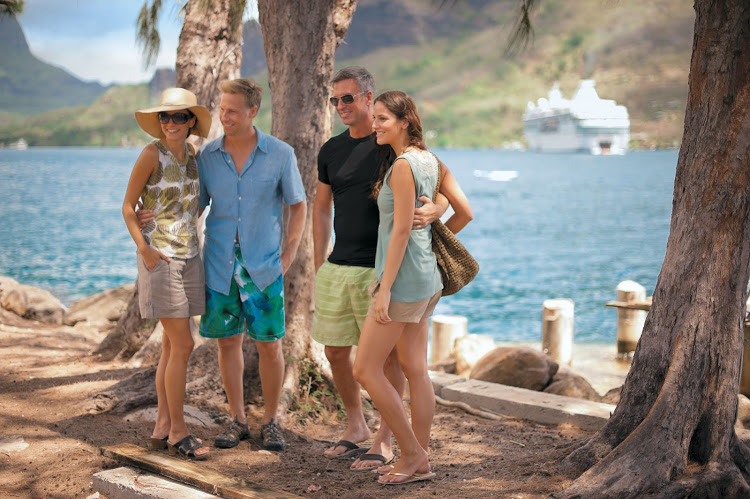 A hosted group in Moorea, French Polynesia, that came as part of a Paul Gauguin cruise.