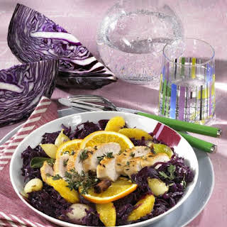 Pan-Fried Chicken with Citrus Braised Cabbage.
