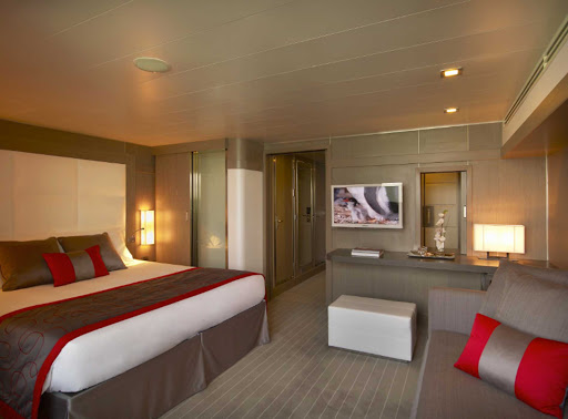 Ponant-Leboreal-stateroom.jpg - After a day exploring the Caribbean, Scandinavia or Antartica, relax in style in your stateroom on Ponant's luxury expedition ship Le Boreal.