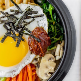 5. Quinoa and Rice Bowl with Kale, Kimchi, and Egg