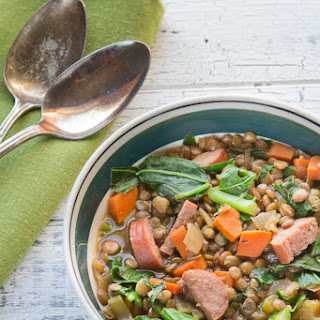 Lentil and Sausage Stew with Greens