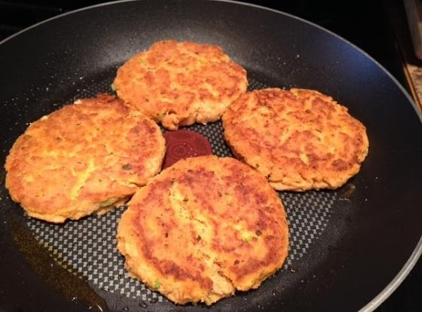 salmon patties, just flipped in pan