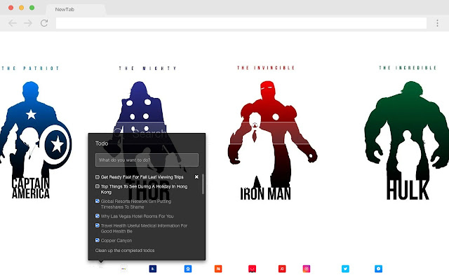Marvel New Tab Page HD Pop Movies Theme