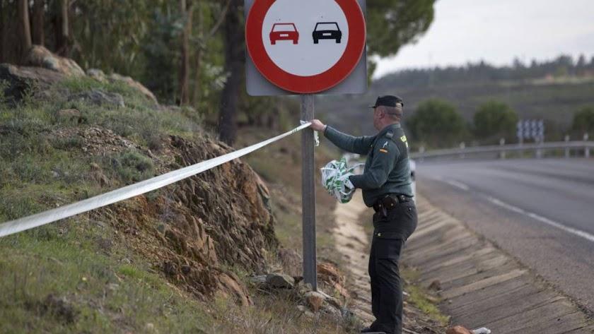 Barranco de Las Mimbreras en la N-435 en El Campillo (Huelva) donde fue encontrado el cadáver de Laura Luelmo.