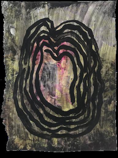 _serie_matiere_rose_cerveau_mind_corps_esprit_peinture_acrylique_papier_magazine_papillon_tache_nuit_portrait_rose_noir_femme_artiste_memoire_art_contemporain_singulier_emergent_collection_©_adagp_paris_2021