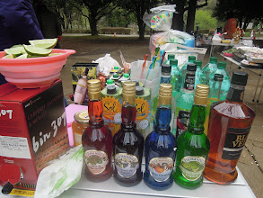 Photo: 慣例のショットバーコーナーに並んだお酒。赤ワインの上に生ライム、続いてフランボアーズ、カシス、オレンジ、バナナのリキュール、ウィスキー、ダイキリ、モヒート、ウォッカ、ジン、ソーダ、焼酎、生のラズベリーに韓国柚子茶、白ワイン、ジュースもベリー、パイナップル、リンゴ、オレンジ、グレープフルーツなど一杯だ!