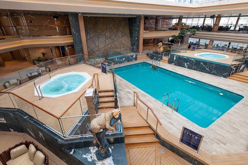 MSC Grandiosa boasts four pools and nine whirlpools, including the Safari Pool shown here.
