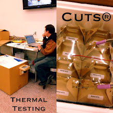 Photo: Kelly conducting thermal testing on the CUTS. This is how we make sure that our CUTS shipments can endure the hot AZ summer days. Works like a champ!